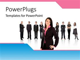 PowerPlugs: PowerPoint template with nine business men and women standing on the background and a leader in front