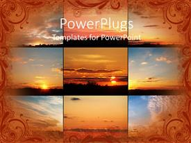 PowerPlugs: PowerPoint template with nine collages of nature arranged side by side