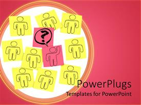 PowerPlugs: PowerPoint template with nine drawings of human characters on yellow note pads with a pink center one