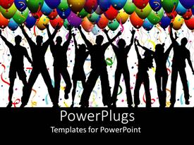 PowerPlugs: PowerPoint template with nine human figures jumping with colorful balloons above them