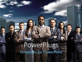 PowerPlugs: PowerPoint template with nine males and females on suites standing and folding their hands