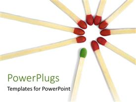 PowerPlugs: PowerPoint template with nine match sticks held together with an outstanding green one