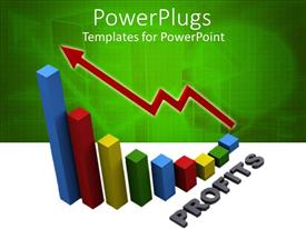 PowerPlugs: PowerPoint template with nine multi colored bars with a zigzag red arrow