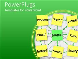 PowerPoint template displaying nine square sticky notes with written words and arrows