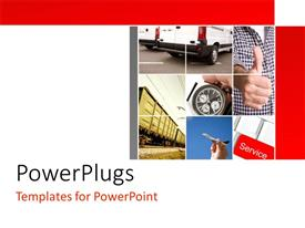 PowerPlugs: PowerPoint template with nine tiles with a hand, a stop clock and a car