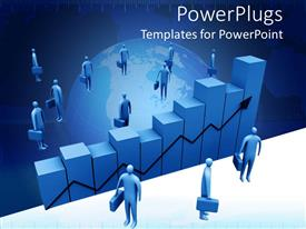 PowerPoint template displaying nondescript blue figures with briefcases surrounding business graphs
