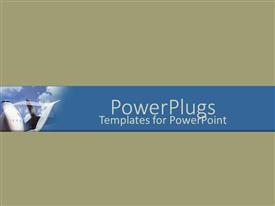 PowerPlugs: PowerPoint template with nose of aircraft flying in blue cloudy sky on green background
