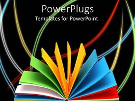 PowerPlugs: PowerPoint template with notebook with colored paper fanned open on black background with colored curved lines