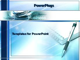 PowerPlugs: PowerPoint template with notebook and pen writing thinking working planning strategy blue background