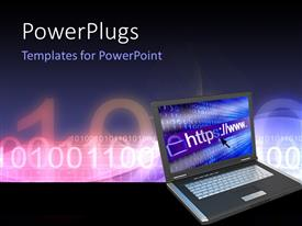 PowerPlugs: PowerPoint template with notebook with web concept and binary code tech effect in the background