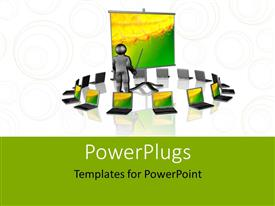 PowerPlugs: PowerPoint template with notebooks around the presentation stand depicting wireless presentation concept