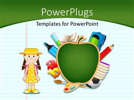 PowerPlugs: PowerPoint template with notepad with artwork of green apple, letters and cute kid