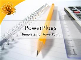 PowerPlugs: PowerPoint template with notepad with big yellow pencil ruler and calculator white background