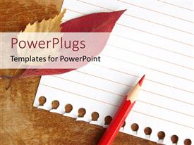 PowerPlugs: PowerPoint template with notepad page with orange pencil and autaumn leaves
