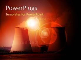 PowerPoint template displaying nuclear power station with cooling towers steam