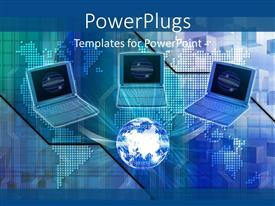 PowerPlugs: PowerPoint template with a numbe rof laptops and a globe