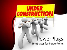 PowerPlugs: PowerPoint template with a numbe rof people holding the sign of under construction