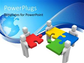 PowerPoint template displaying a numbe rof people joining the puzzle pieces together