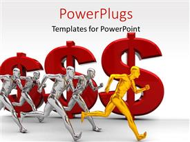PowerPlugs: PowerPoint template with a numbe rof people in the race with a lot of dollar signs