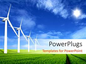 PowerPlugs: PowerPoint template with a numbe rof windmills in the line and a sky in background