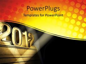 PowerPlugs: PowerPoint template with a gold colored text that spells out the word '2012'