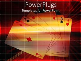 PowerPoint template displaying a number of aces together with reddish background