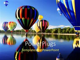 PowerPlugs: PowerPoint template with a number of air balloons with clear sky in the background