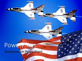 PowerPlugs: PowerPoint template with a number of airplanes with an American flag
