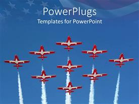 PowerPlugs: PowerPoint template with a number of airplanes with American flag in the background