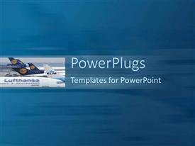PowerPoint template displaying a number of airplanes with a bluish background