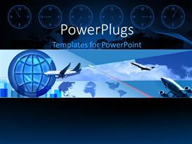 PowerPlugs: PowerPoint template with a number of airplanes with a globe