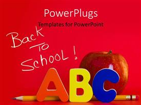 PowerPlugs: PowerPoint template with a number of alphabets with an apple and reddish background