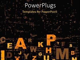 PowerPlugs: PowerPoint template with a number of alphabets with blackish background