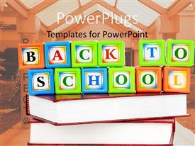 PowerPlugs: PowerPoint template with a number of alphabets inside boxes placed on books