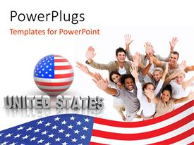 PowerPlugs: PowerPoint template with a number of American with globe in American flag