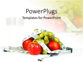 PowerPoint template displaying a number of apples with grapes and a measuring tape