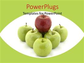 PowerPlugs: PowerPoint template with a number of apples with greenish background
