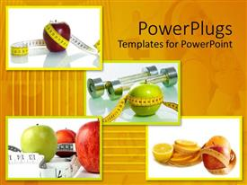 PowerPoint template displaying a number of apples with measuring tape tied around them