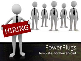 PowerPlugs: PowerPoint template with a number of applicants dressed same looking to be hired