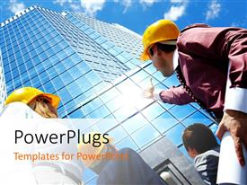 PowerPlugs: PowerPoint template with a number of architects with a skyscraper in the background