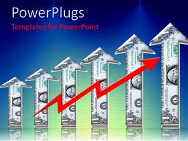 PowerPlugs: PowerPoint template with a number of arrows in dollar form with bluish background