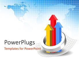 PowerPlugs: PowerPoint template with a number of arrows with the map of the Earth in the background