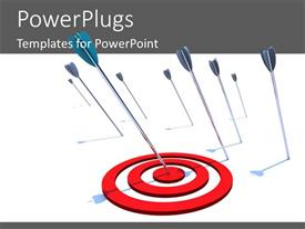 PowerPlugs: PowerPoint template with a number of arrows and one hitting the bulls eye