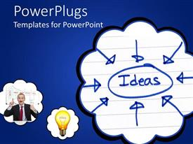PowerPlugs: PowerPoint template with a number of arrows pointing towards the word idea