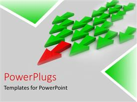 PowerPlugs: PowerPoint template with a number of arrows with a red one in front