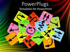 PowerPlugs: PowerPoint template with a number of arrows on the sticky notes