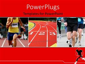 PowerPlugs: PowerPoint template with a number of athletes running on the track