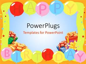PowerPlugs: PowerPoint template with a number of balloon saying happy birthday