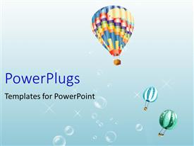 PowerPlugs: PowerPoint template with a number of balloons with bluish background and bubbles