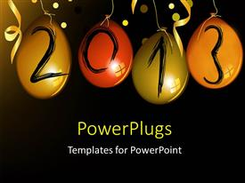 PowerPoint template displaying a number of balloons with the new year celebration of 2013